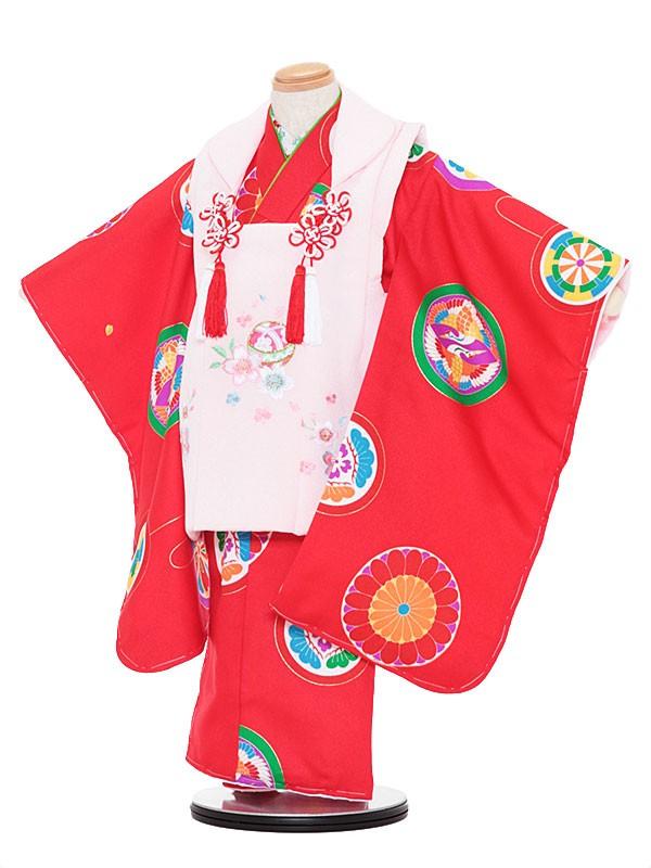 七五三レンタル(3歳女被布)3052 ピンク×赤 鶴