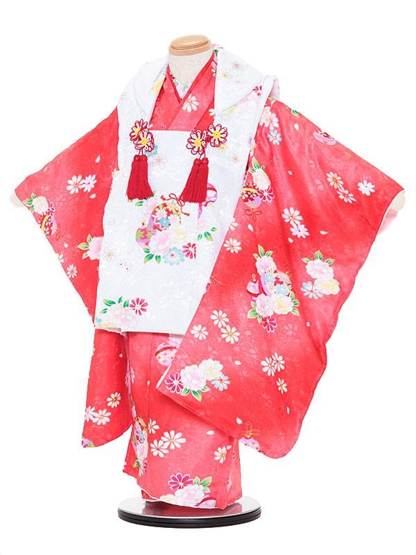 七五三レンタル(3歳女被布)3035 白×赤 桜