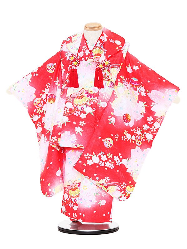 七五三レンタル(3歳女被布)3090 赤×赤 桜