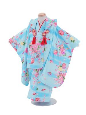 七五三レンタル(3歳女被布)3004 水色 折り鶴