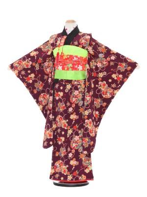 七五三レンタル(7歳女の子結び帯)3100 紫地 花柄 鈴