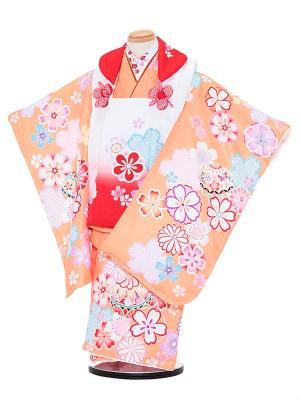 七五三レンタル(3歳女被布)3059 陽気な天使 赤ぼかし×オレンジ 桜