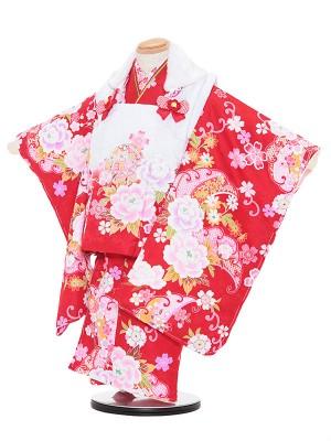 七五三レンタル(3歳女被布)3071 kawaiina 赤ぼかし×赤 バラ