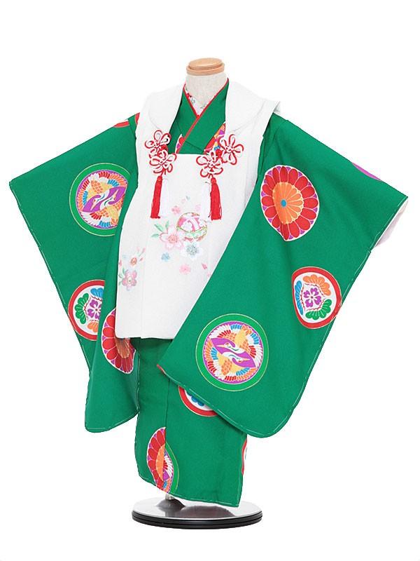 七五三レンタル(3歳女被布)3055 白×緑 鶴