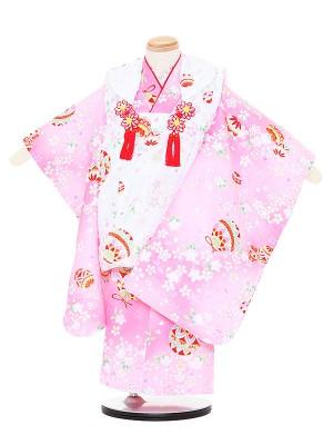 七五三レンタル(3歳女被布)3086 白×ピンク まり