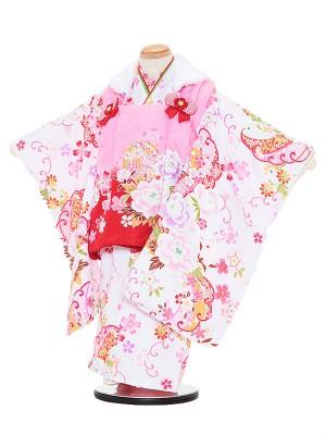七五三レンタル(3歳女被布)3072 kawaiina ピンクぼかし×白