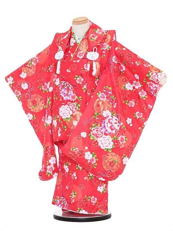 七五三レンタル(3歳女被布)3045 赤地 桜 バラ