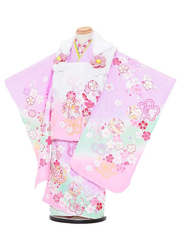 七五三レンタル(3歳女被布)3073 陽気な天使 ピンクぼかし×パープル