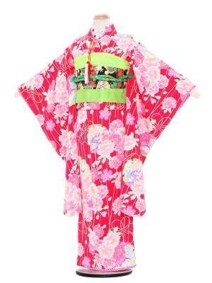 七五三レンタル(7歳女の子結び帯)3095 赤地 花柄