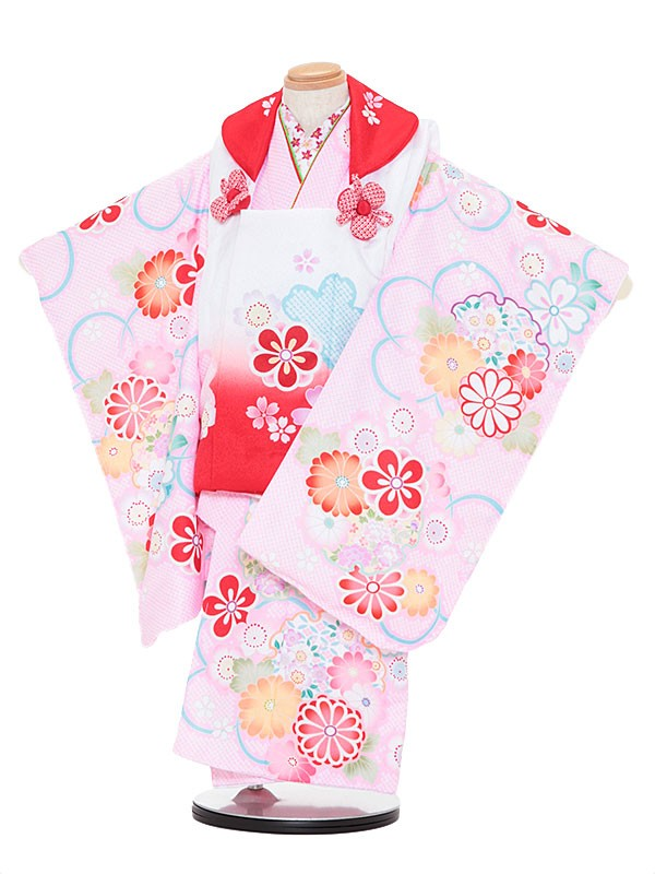 七五三レンタル(3歳女被布)3060 陽気な天使 赤ぼかし×ピンク 桜