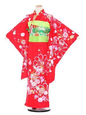 七五三レンタル(5歳女の子結び帯)3099 赤地 桜 鈴