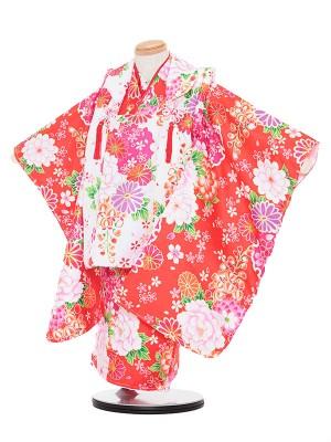 七五三レンタル(3歳女被布)3046 白×オレンジ 桜 バラ