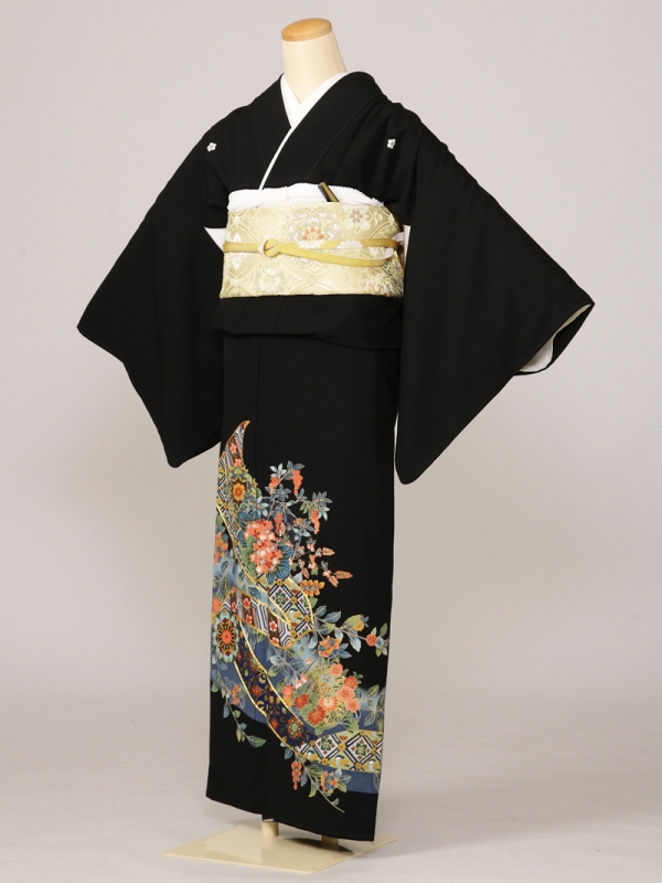 黒留袖0033水色地大きな道長小花(化繊)