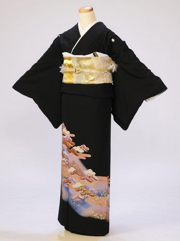 黒留袖0270紫小松(化繊)