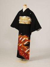 黒留袖0215オレンジ籠目末広鶴数羽花(化繊