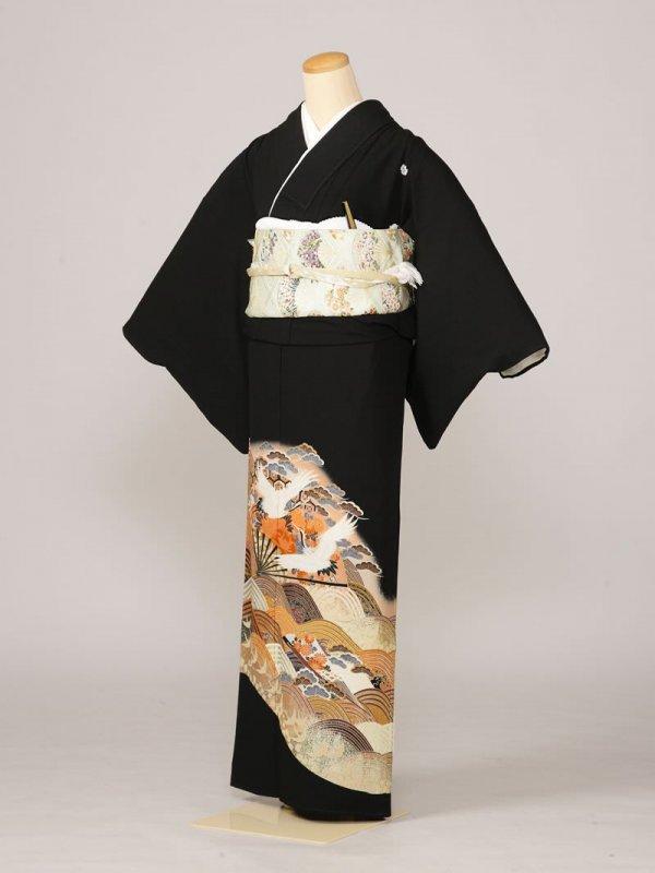 黒留袖0023扇面鶴波(化繊)