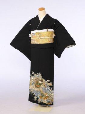 黒留袖0078橋 家 川(化繊)