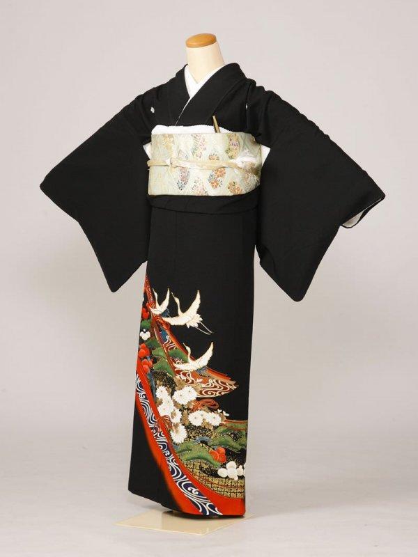 黒留袖0018赤地紺道長松梅小菊鶴(化繊)