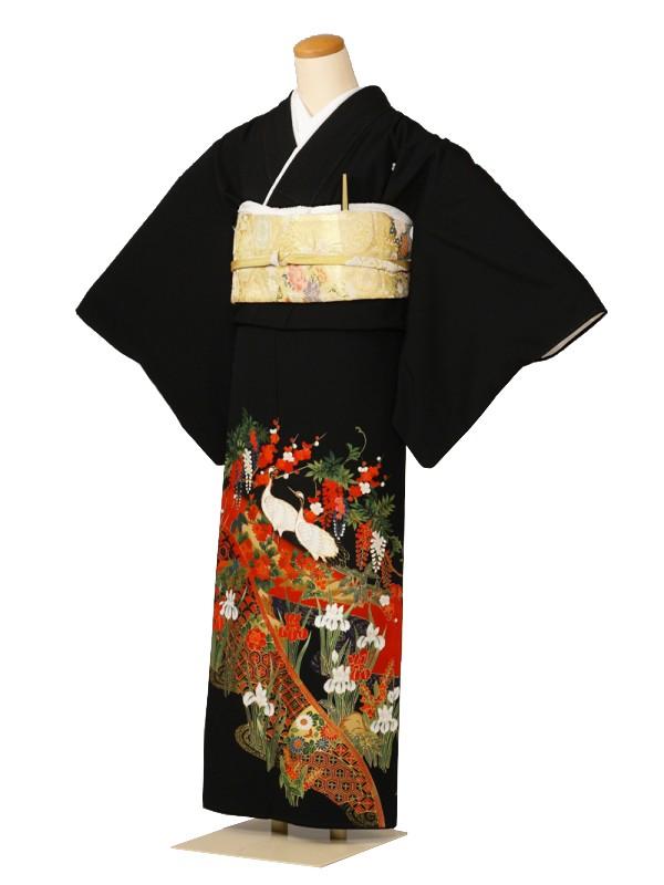 黒留袖0034鶴あやめ藤赤の波金の岩(化繊)