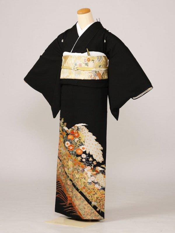 黒留袖0047金長道孔雀(正絹)