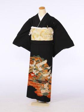 黒留袖0067金線波松梅小鶴(化繊)