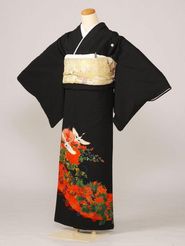 黒留袖0032朱地ツタ菊鶴(化繊)