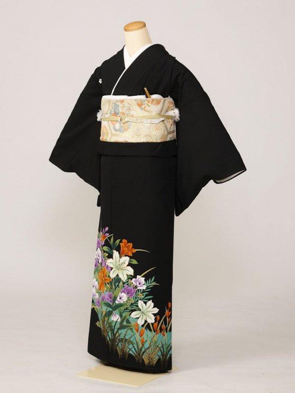 黒留袖0200淡緑長通百合金たたき葉(化繊)