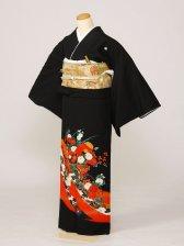 黒留袖0210赤のしめ花車雪輪(化繊)