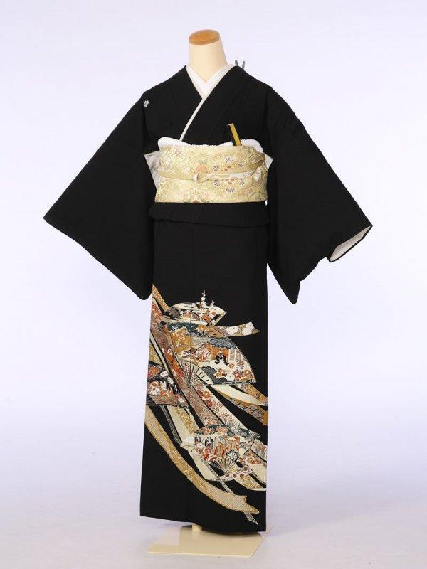 黒留袖0076金のしの中扇面(化繊)