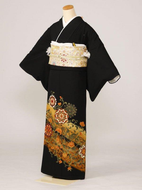 黒留袖0129唐草鏡表(化繊)