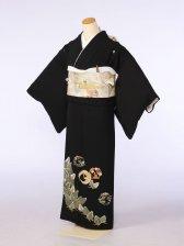 黒留袖0082若松と竹の輪 鶴(正絹)