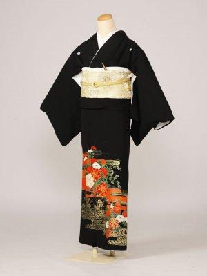 黒留袖0044流水花車鶴(化繊)