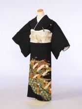 黒留袖0085籠目 千羽鶴 花(化繊)