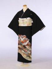 黒留袖0107赤茶四海波末広鶴たたき(化繊)