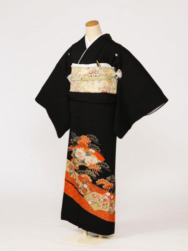 黒留袖0112扇面牡丹松(正絹)
