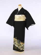 黒留袖0089金の波 山に松(化繊)
