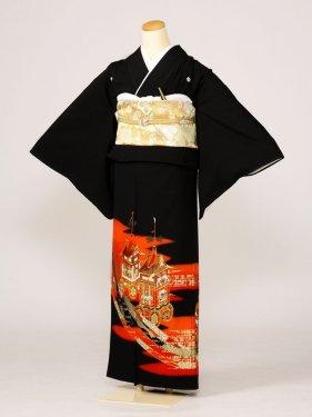 黒留袖0004赤地山車(化繊)