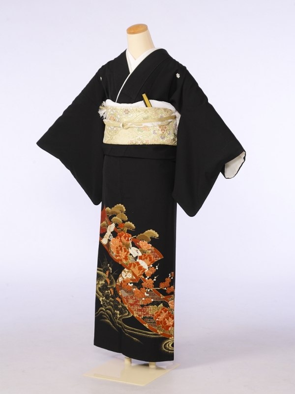 黒留袖0079菊絵巻の中鶴ボタン(化繊)