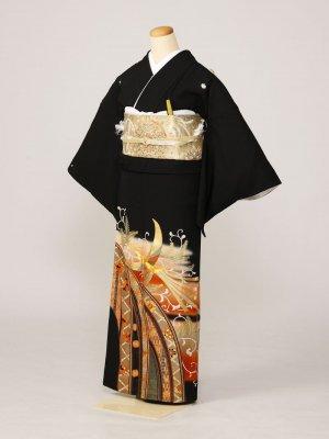 黒留袖0225茶ぼかし唐草舞子金鶏短冊(正絹