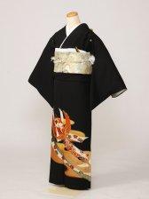 黒留袖0172茶霞のし鶴(化繊)