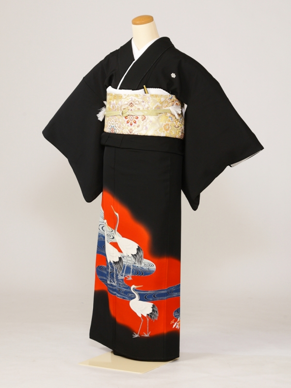 黒留袖0136真紅の中紺水鶴(化繊)