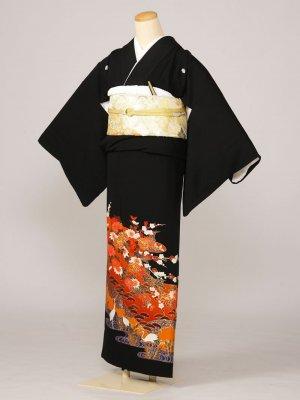 黒留袖0030レンガ色地菊に梅三階松立鶴(化