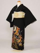 黒留袖0128市松桐鶴三羽(化繊)