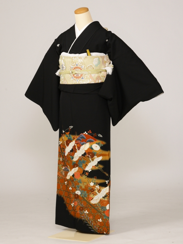 黒留袖0165垣根千羽鶴小菊(化繊)