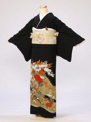 黒留袖0292牡丹梅枝(化繊)