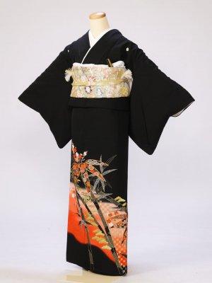 黒留袖0259裾赤地松竹梅(化繊)
