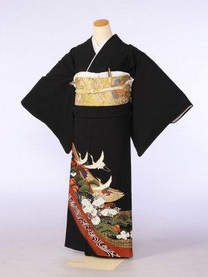 黒留袖0095小豆色地道長松梅小菊(化繊)