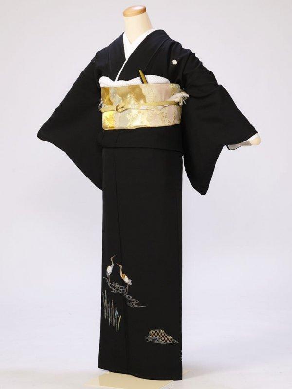 黒留袖0241立鶴流水垣根(正絹)