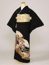 黒留袖0163流水扇二面たたみ扇(正絹)