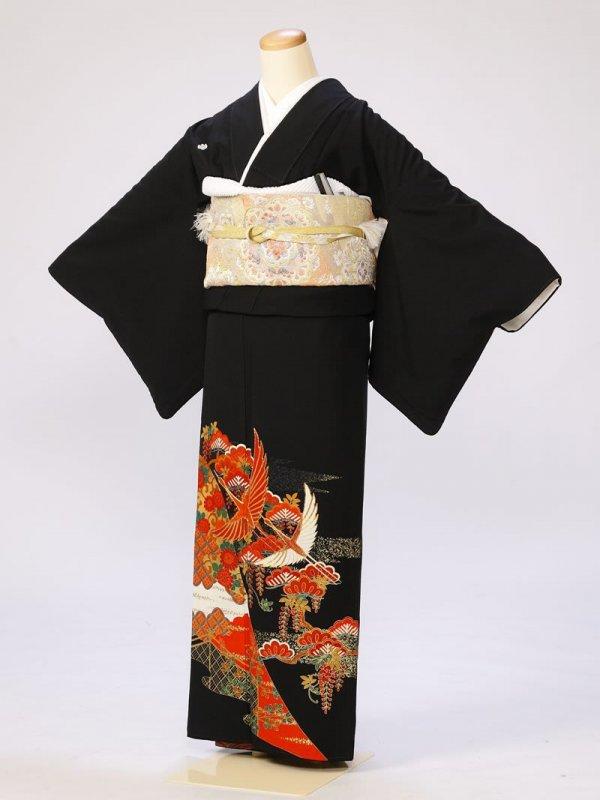 黒留袖0262のしめ光淋鶴(化繊)